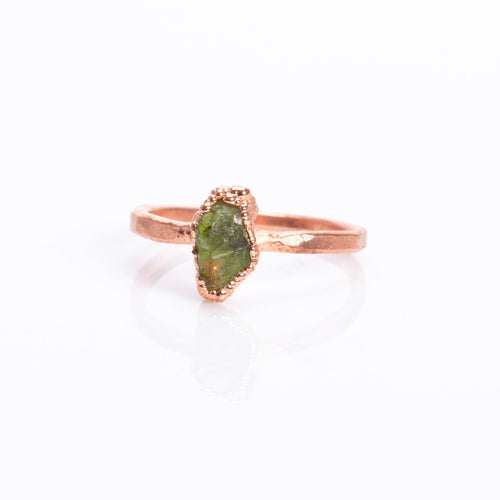 Peridot Raw Crystal Copper Ring