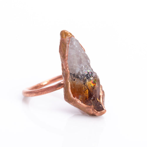 Citrine Raw Crystal Copper Ring