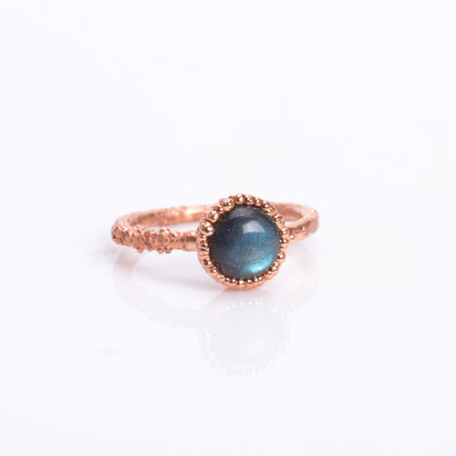 Labradorite Crystal Copper Ring