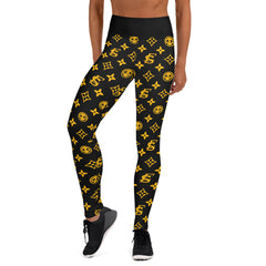 Gold Louis V Style Endless Summer Ladies Yoga Leggings