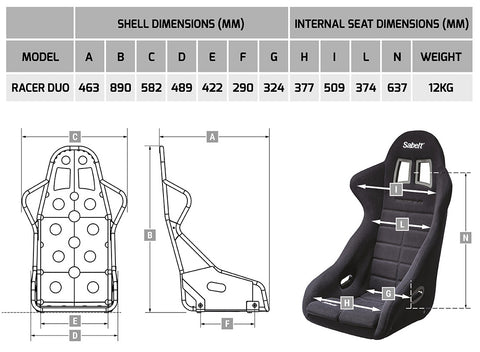 Size guide Sabelt seat Racer Duo