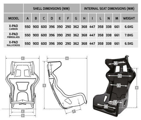 Size guide Sabelt X-Pad seat