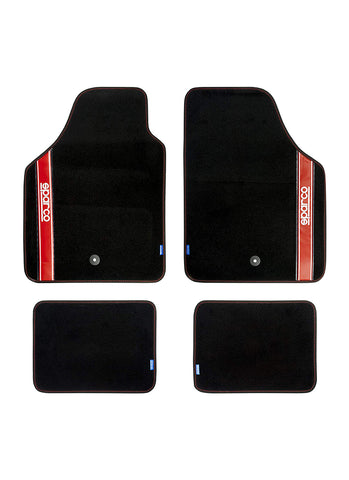 Sparco Corsa - Set 4 tappetini in moquette e logo Sparco (black/red)
