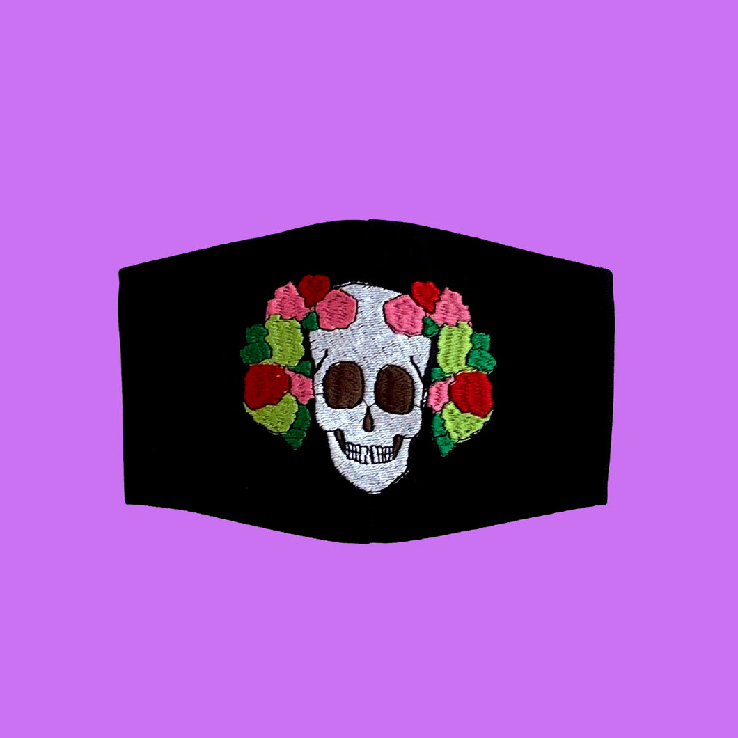Skull with Flower Crown Embroidered Mask