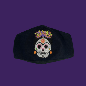 Viva la Vida Frida Embroidered Mask