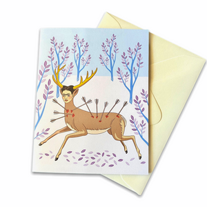 Wounded Deer Blank Greeting Card