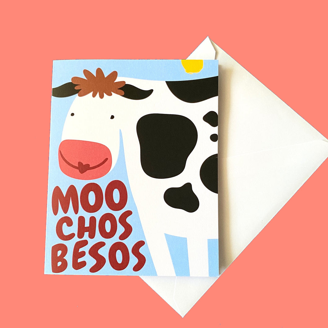 Moo Chos Besos/Lots of Kisses Greeting Card