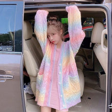 Load image into Gallery viewer, Rainbow Kawaii Cardigan Sweater.