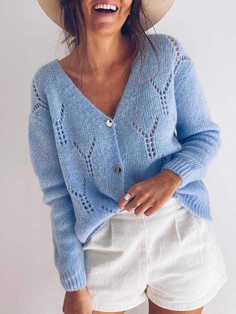 V-neck-Button-Hollow-Solid-Sweater