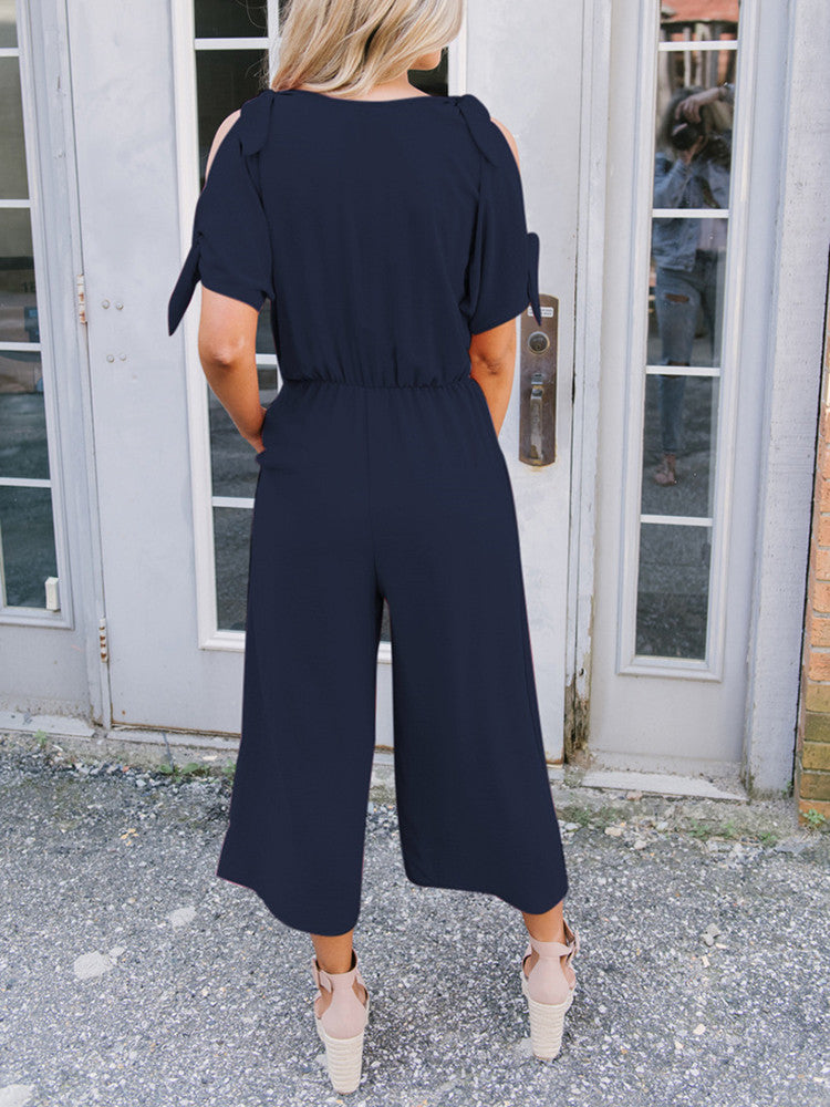 V-neck Strapless Pocket Loose Solid Jumpsuit - JNjeans