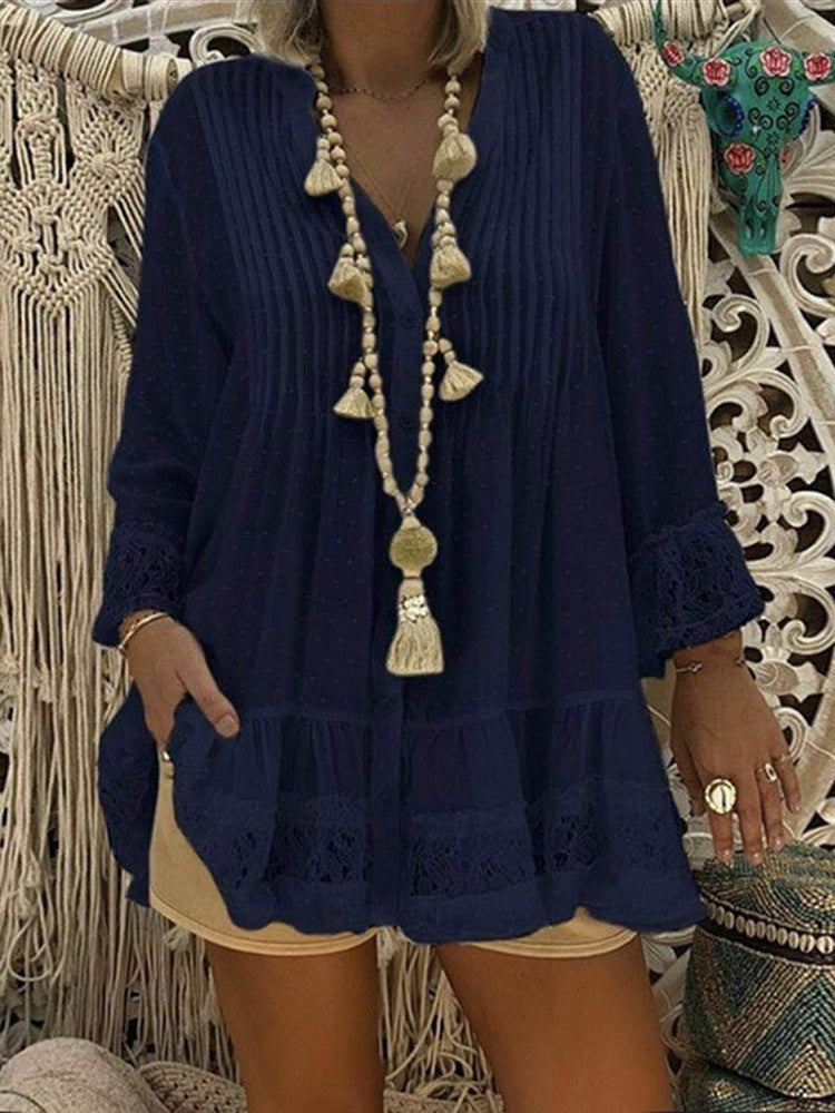 Lace-Trim Pleated V-Neck Long-Sleeve Plus-Size Blouse - JNjeans