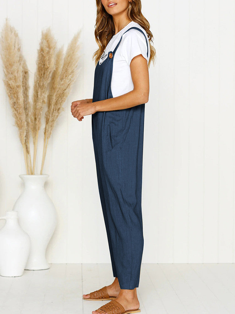 Solid Wide Leg Strappy Jumpsuit Overalls - JNjeans