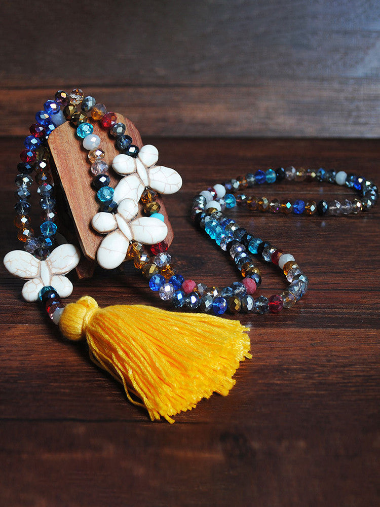 Handmade Beaded Tassel Decoration Necklace - JNjeans