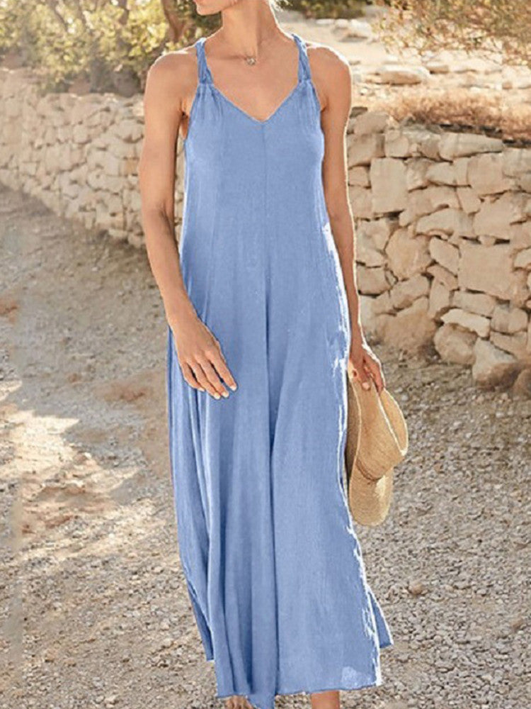 Solid Sleeveless  Midi Dresses - JNjeans