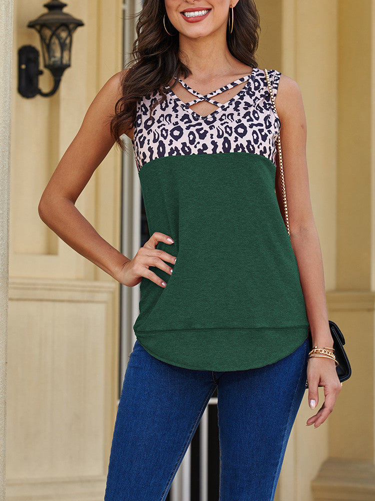 Leopard Splicing Solid Neckline-Cross Tank Top - JNjeans
