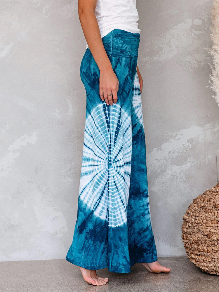 Tie-dye Wide Leg Floor Length Pants - JNjeans