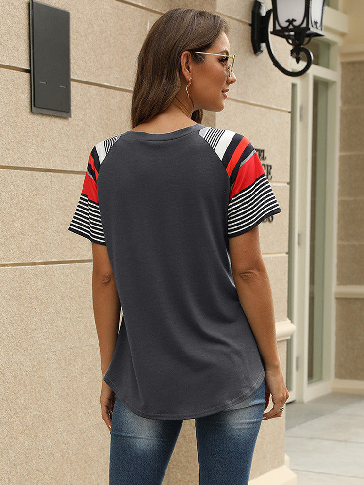 Striped Color Block Short Sleeve Tops - JNjeans