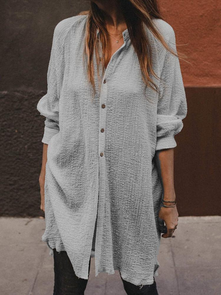 Loose Solid Button-Down Long-Sleeve Long Shirt - JNjeans