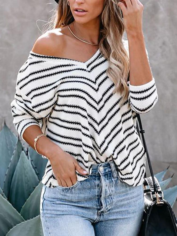 V-neck-Frame-Striped-Stitching-Long-sleeve-T-shirt