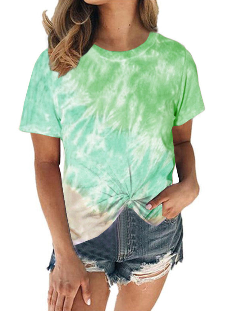 Tie-dye Round-Neck Short-Sleeve Twist Loose T-shirt - JNjeans