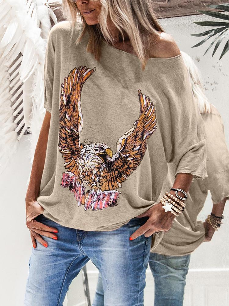 Eagle-Print One-Shoulder Half-Sleeve Loose T-shirt - JNjeans