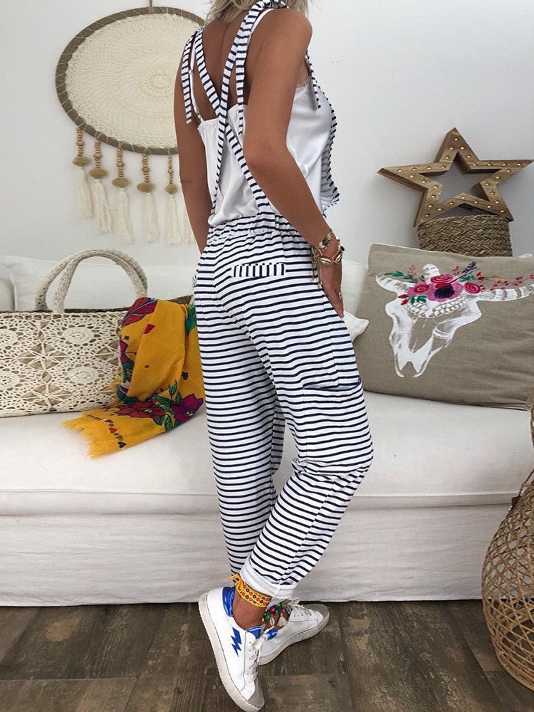 Sleeveless Striped Pocket Casual Jumpsuit - JNjeans