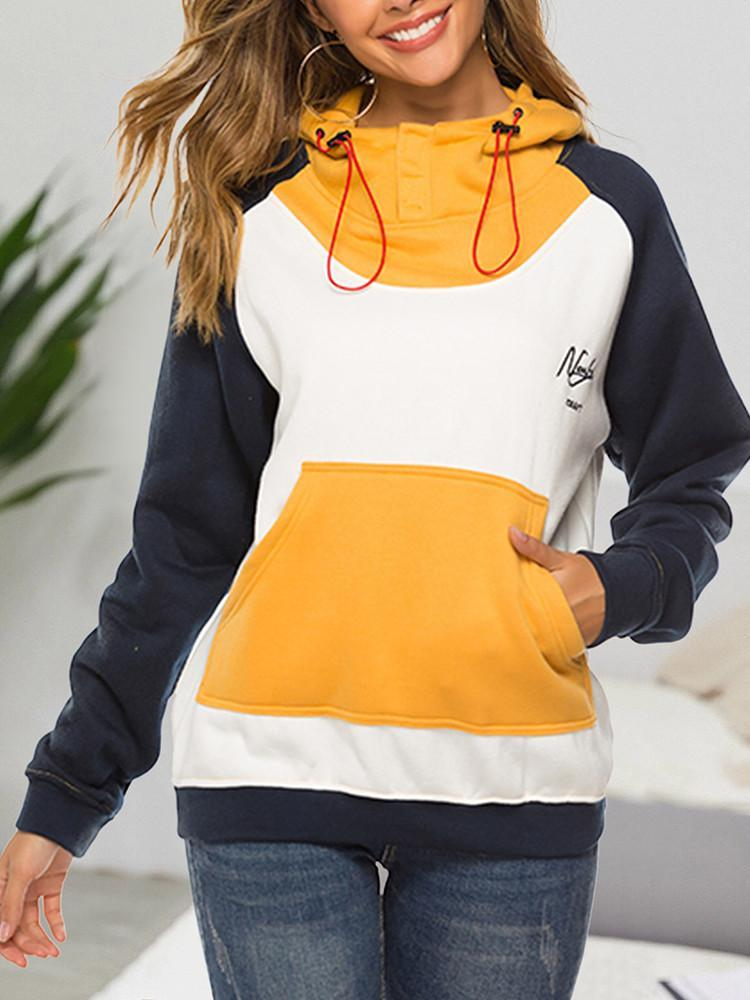 Color-Block-Embroidered-Pocket-Drawstring-Hoodie