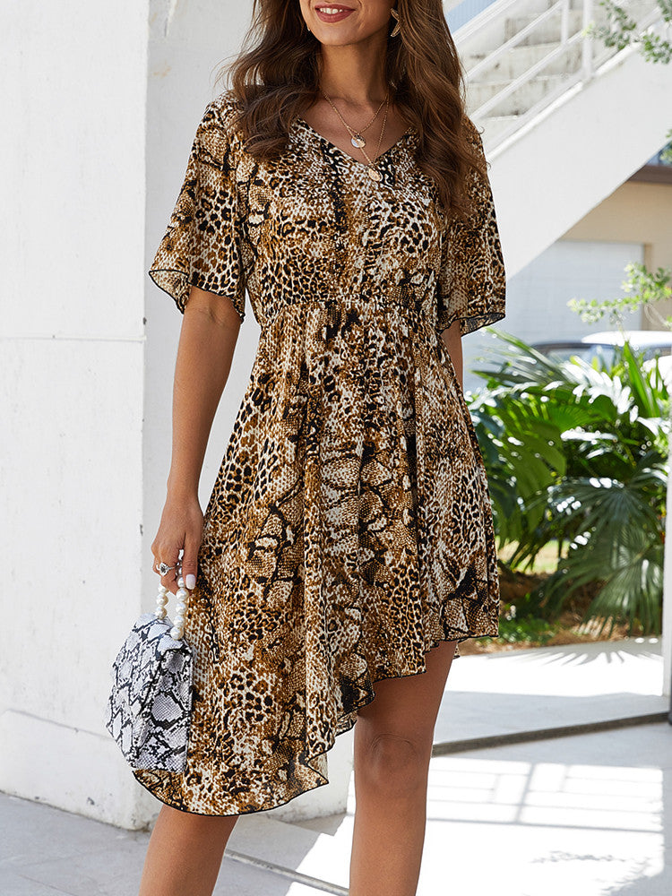 V-neck Hem Irregular Leopard Print Dress - JNjeans