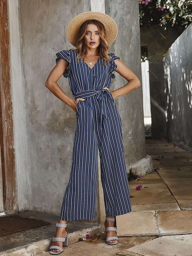 Striped Ruffle Belted Pockets Jumpsuit - JNjeans