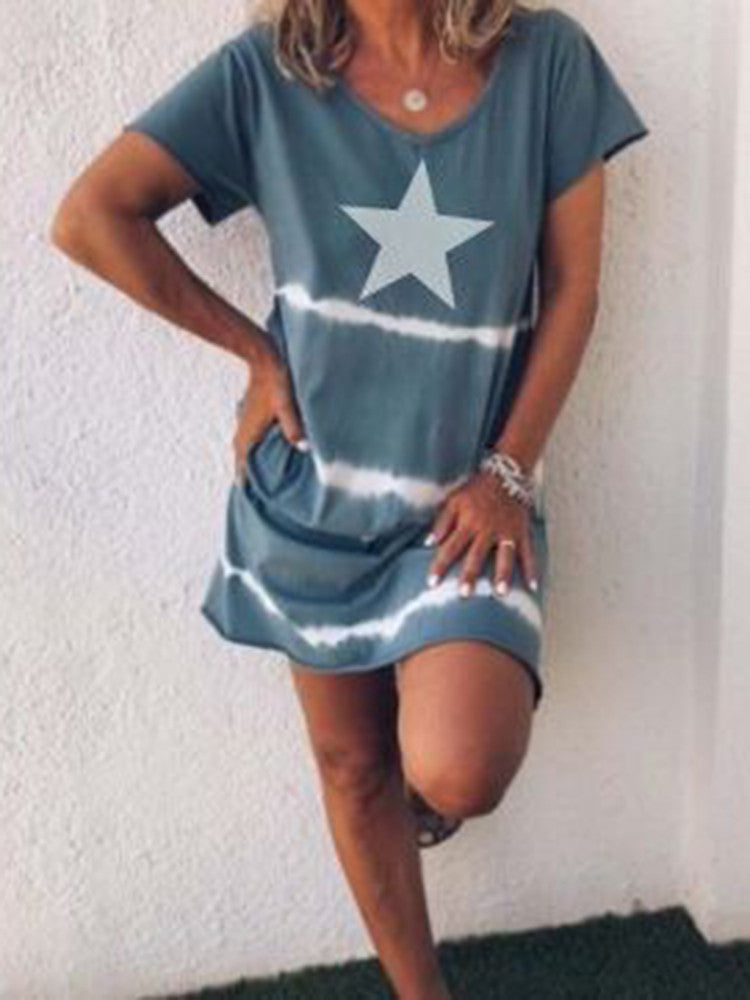 Tie-dye Star Printed Mini T-shirt Dress - JNjeans
