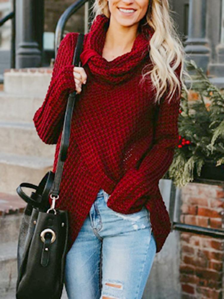 Asymmetric-Hem-Red-Button-Cardigan