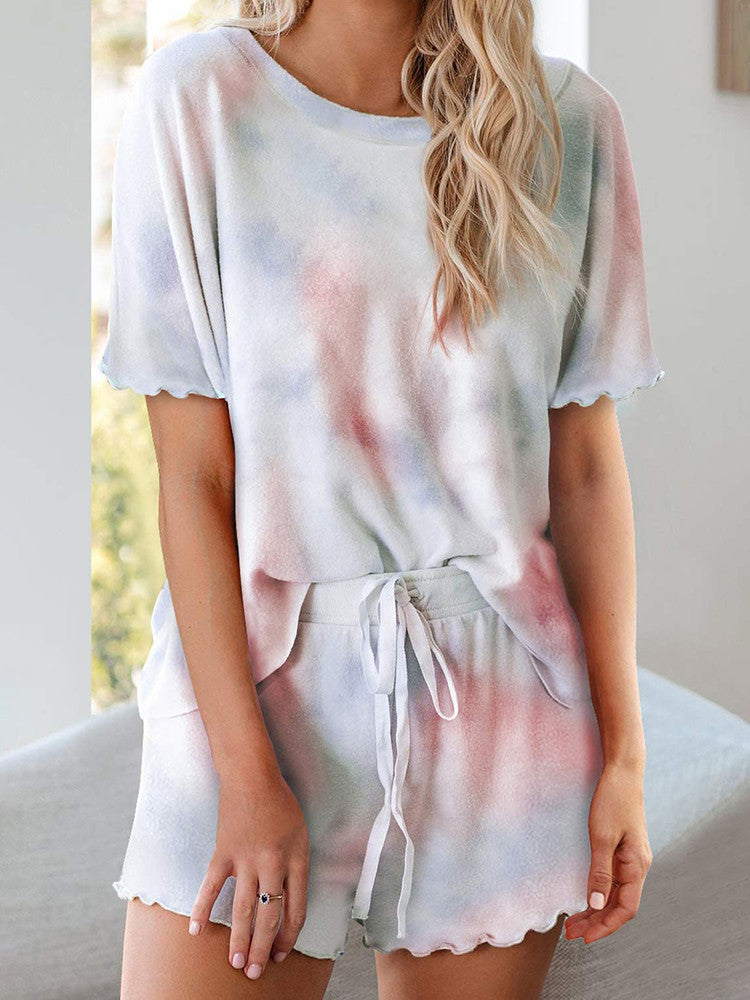 Tie-dye Ruffle Short Pajamas Two-pieces - JNjeans