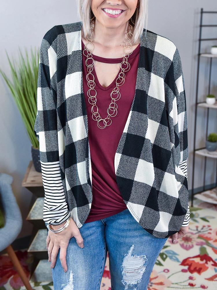 Plaid-Sleeve-Striped-Patchwork-Cardigan