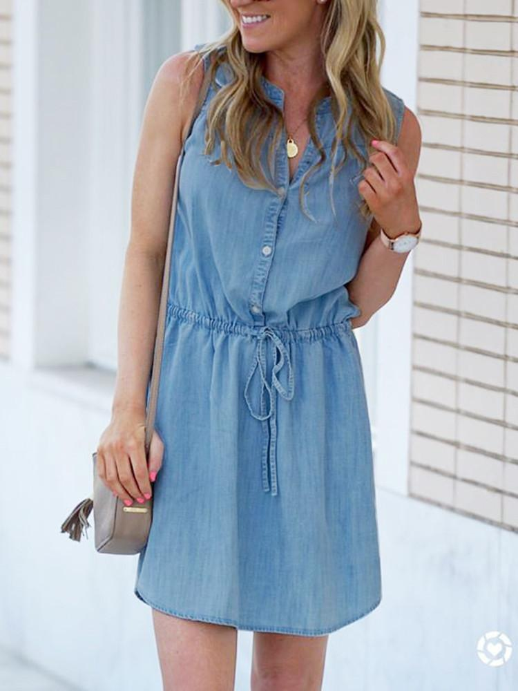 Denim Sleeveless Button-Front Drawstring Mini Dress - JNjeans