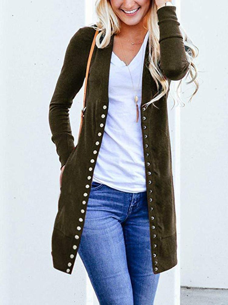Solid-Elegant-Multiple-Buttons-Long-Cardigan