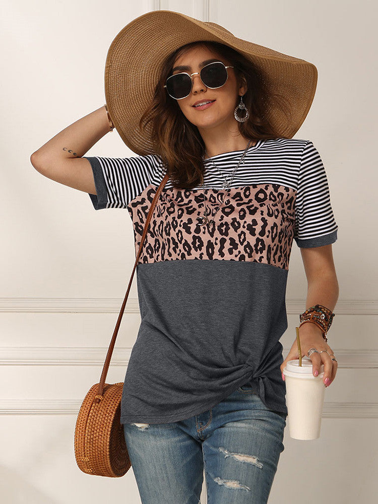 Striped Leopard Short Sleeve Twist Tops - JNjeans