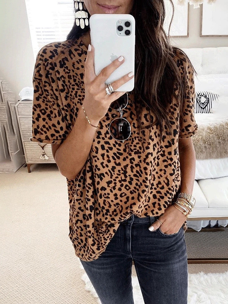 Leopard Short-Sleeve Round-Neck Loose T-shirt - JNjeans