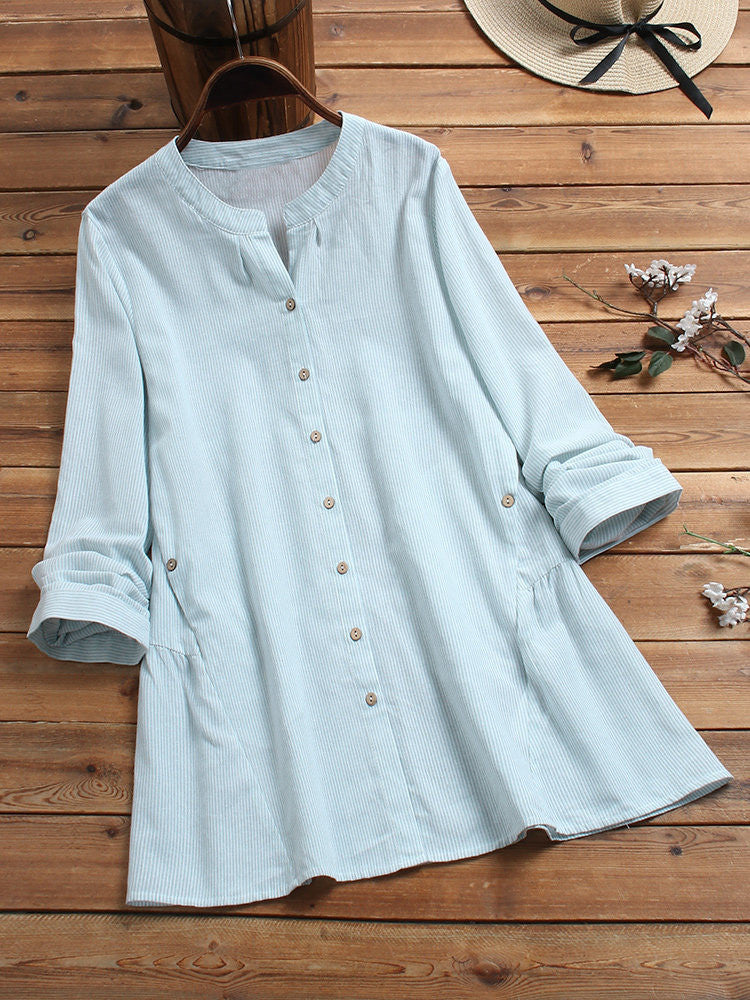 Casual Striped Long Sleeve Blouse - JNjeans