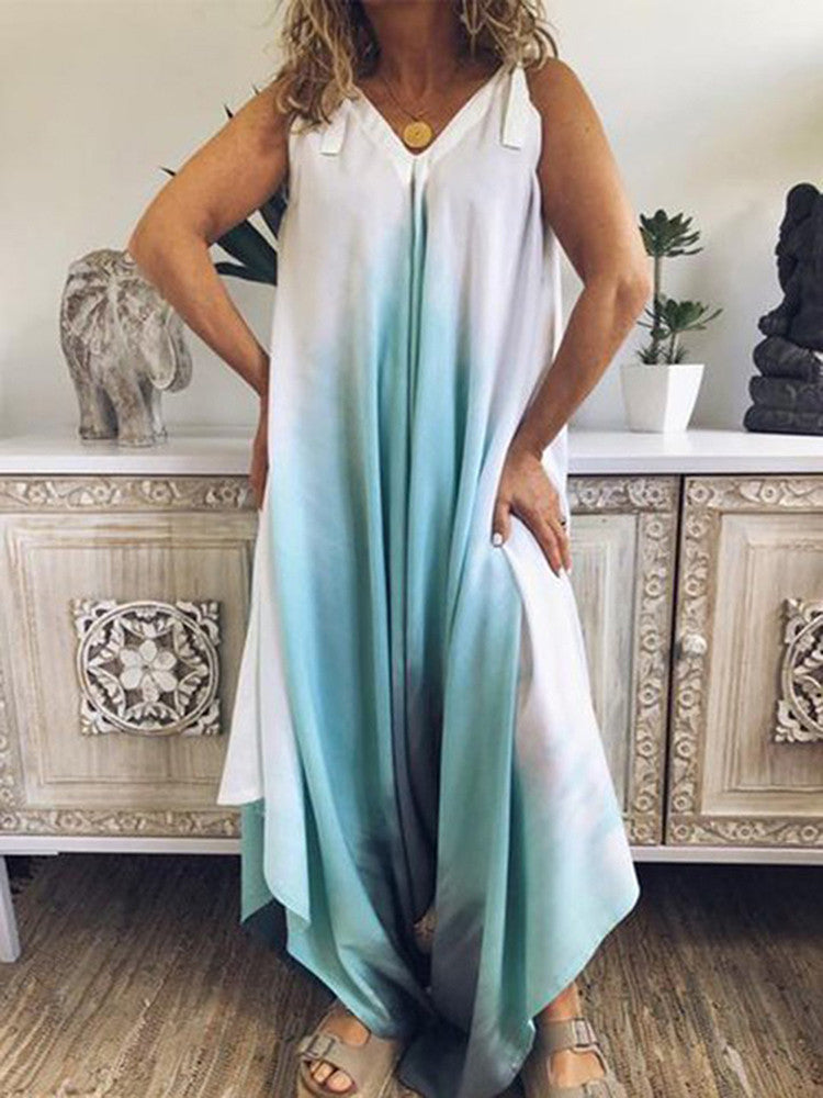 Gradient V-neck Loose Wide Leg Jumpsuit - JNjeans