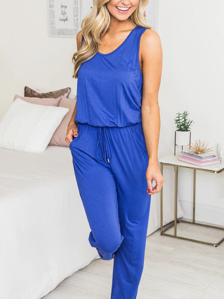 Basic Drawstring Jumpsuit - JNjeans
