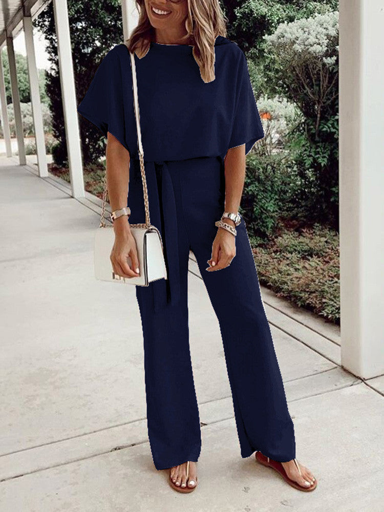 Loose Lace Round Neck Short Sleeve Solid Jumpsuit - JNjeans