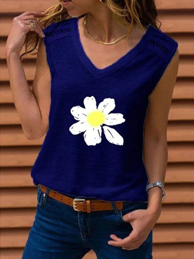 Lace Splicing Daisy Print Tank Top - JNjeans
