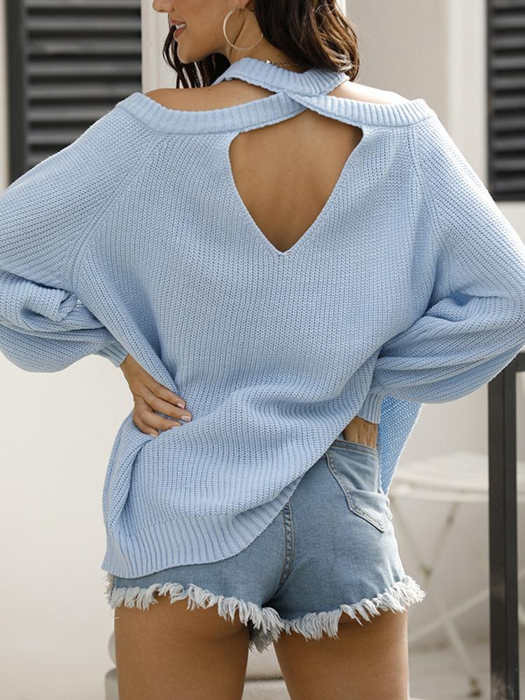 Halter Open-back Solid Knitted Sweater - JNjeans