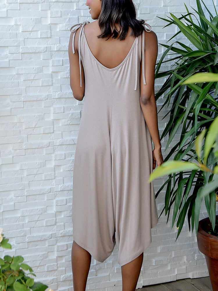 Tie-Shoulder Wide-Leg Plus-Size Solid Midi Jumpsuit - JNjeans