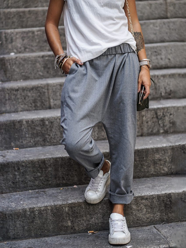 Casual Solid-Color Ppocket Pants - JNjeans