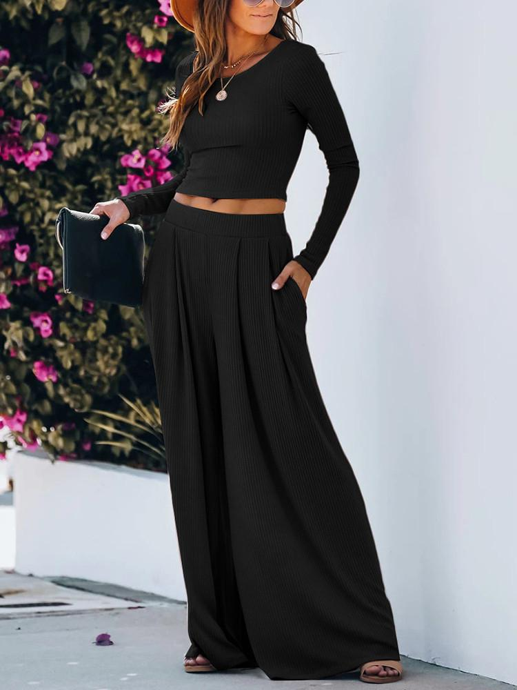Solid Long-Sleeve Round-Neck Wide-Leg Two-pieces - JNjeans