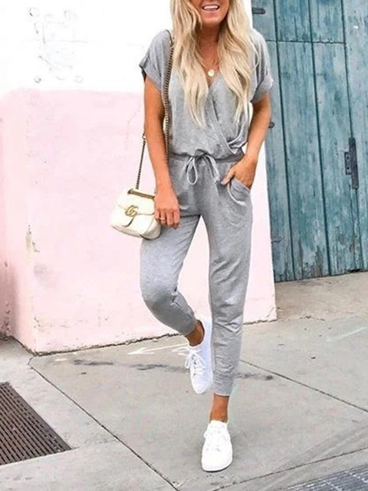V-neck Pocket Drawstring Short Sleeve Jumpsuit - JNjeans