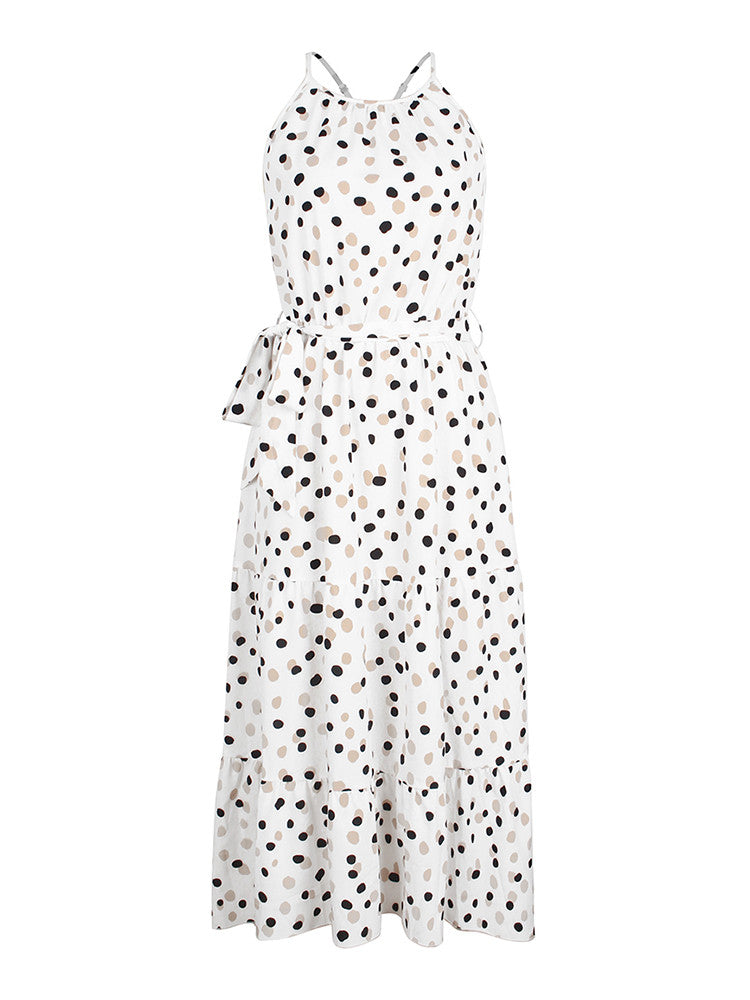 Halter Polk Dot Long Dress - JNjeans