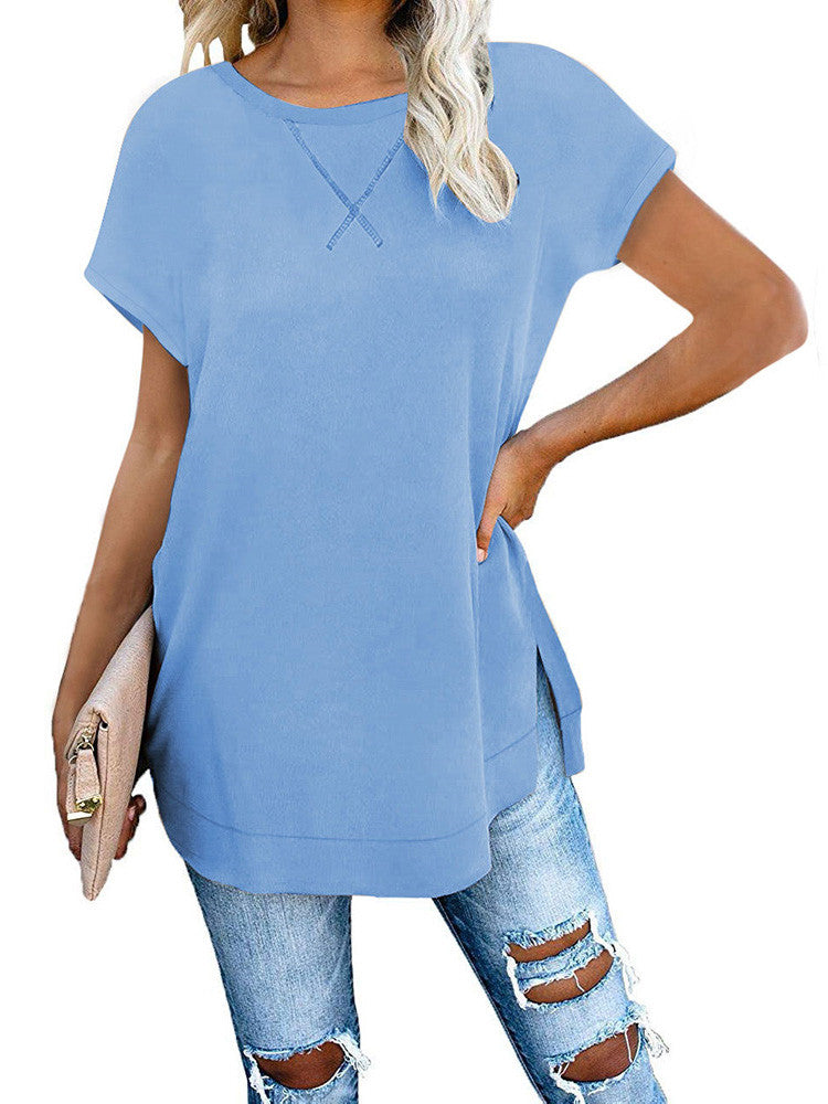 Side Split Loose Casual Tunic Tops - JNjeans