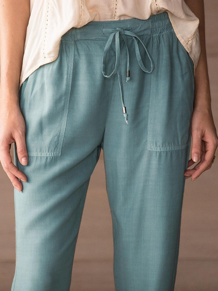Solid Cotton Drawstring Harem Pants - JNjeans